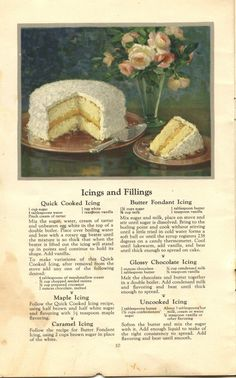 Things Your Grandmother Knew: Six Vintage Icing & Cake Filling Recipes Cake Filling Recipes, Frosting Recipes, Cake Recipes, Dessert Recipes, Retro Recipes, Vintage Recipes, 1950s Recipes, Food Cakes, Cupcake Cakes