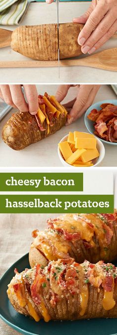 Cheesy Bacon Hasselback Potatoes – Hasselback potatoes always look great on a plate. This cheesy version, made with bacon, cheddar and fresh chives, is sure to be a new favorite. Cheesy Bacon Hasselback Potatoes – Hasselback potatoes always look gr I Love Food, Good Food, Yummy Food, Tasty, Delicious Snacks, New Recipes, Cooking Recipes, Healthy Recipes, Favorite Recipes