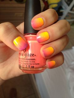 Ombré sunset nails. I AM SO IN LOVE WITH THIS. Where can I find someone to do my nails this way?????