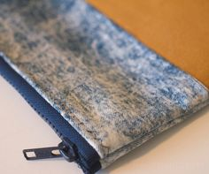Recycled Blue denim clutch with Faux camel suede by HandMadejesty