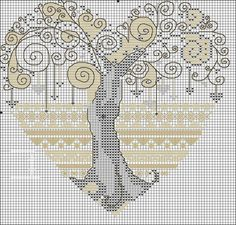 cross stich heart tree