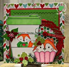 Life of a BZscrapper, Craftin Desert Divas Cupcake Cutie, Coffee Cup and Java Fox Digis and Dies, Christmas Card