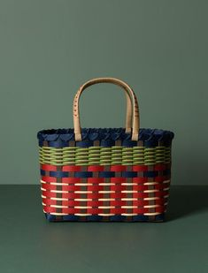 An exquistitely made basket or handbag constructed from intricately woven craft tape in an interesting colour palette. Handmade in the Iwate prefecture which su Earthquake Disaster, Bamboo Weaving, Bow Bag, Tape Crafts, Japanese Outfits, Product Offering, Washi, Woodworking, Handmade