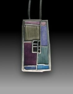 Necklace |  Carly Wright.  Sterling silver with blocks of enameled color pendant.