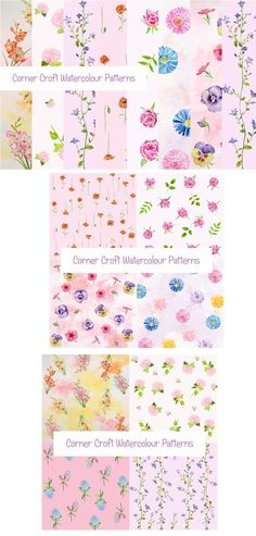 Watercolor Floral Pattern Pink Theme. Textures. $6.00