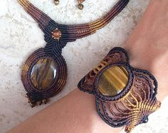 Labradorite macrame set. Necklace and earring Tribal gypsy