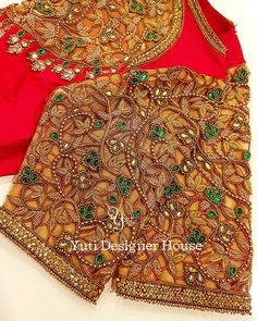 No photo description available. Cutwork Blouse Designs, Kids Blouse Designs, Wedding Saree Blouse Designs, Pattu Saree Blouse Designs, Blouse Neck Designs, Embroidered Blouse, Embroidery Stitches, Hand Embroidery, Maggam Works