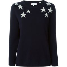 Chinti And Parker Star Intarsia Sweater ($537) ❤ liked on Polyvore featuring tops, sweaters, blue, intarsia sweater, star print top, blue sweater, navy top and navy blue cashmere sweater