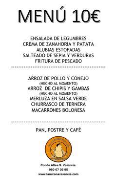Ya tenemos preparado el menú para esta semana en La mirona. Os esperamos.