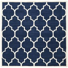 Safavieh Chatham Square Wool Hand Tufted Geometric Area Rug Dark Blue / Ivory Home Decor Rugs Area Rugs Moroccan Area Rug, Modern Moroccan, Square Rugs, 9 Square, Blue Ivory, Dark Blue, Purple Area Rugs, Blue Area, Wool Area Rugs