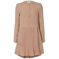 A.L.C. Women's Montana Camel Dress (24,670 PHP) ❤ liked on Polyvore featuring dresses, beige long sleeve dress, flutter-sleeve dresses, long sleeve silk dress, silk shirt dresses and long sleeve high low dress