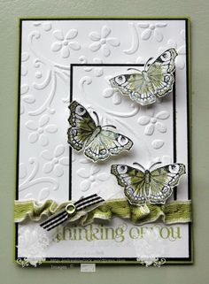 Shimmer Paint, - All a Flutter Butterfly, Curly Cute, - Elegant Bouquet ef, pear pizzazz, basic black Friendship Cards, Stamping Up Cards, Butterfly Cards, Sympathy Cards, Greeting Cards Handmade, Homemade Greeting Cards, Homemade Cards, Card Tags, Cute Cards