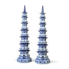 PAGODA PORCELAIN TOWER, Pagoda Blue and White, ACCESSORIES, Bungalow 5, MAK Home - 1
