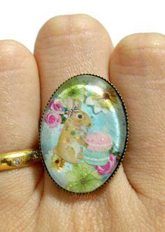 Fairy kei ring earringskawaii bunny macaron spring by Aya1gou, $22.50
