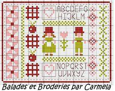 Cute summer sampler freebie from Balades et Broderies