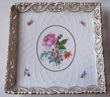 Hungria Herend trabalho aberto Prato Quadrado Com Flores Pintadas A Mão
