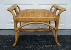 AuBergewohnlich Bent Rattan Stool Vanity Bench Woven Cane Cushion Tropical Bamboo Style