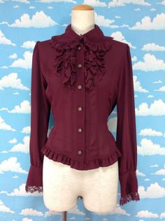 Front Lace Blouse in Bordeaux from Innocent World - Lolita Desu