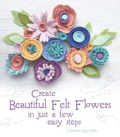 Felt Flowers are the perfect DIY decor for any occasion! Create bouquets, garlands, ornaments, flower crowns and more with this fun PDF felt pattern from little dear. #feltflowers #feltpattern #feltflowerbouquet #feltgarland #feltornaments Felt Animal Patterns, Pdf Patterns, Craft Patterns, Flower Patterns, Embroidery Sampler, Embroidery Hoop Art, Embroidery Patterns, Origami, Cricut