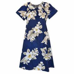 Hibiscus Joy Navy Cotton Hawaiian Muumuu Dress   #floraldress #hawaiiandress