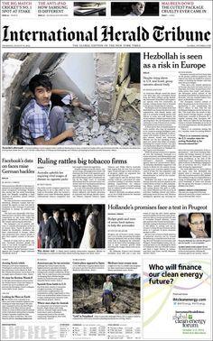 Terrible fotografía del resultado de un ataque aéreo en Siria, en la portada de International Herald Tribune