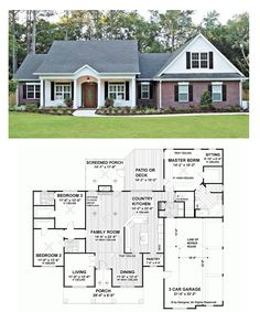 Ranch style, house plans - I could work with this floorplan. House Plans One Story, Ranch House Plans, Dream House Plans, House Floor Plans, My Dream Home, 4 Bedroom House Plans, Ranch House Exteriors, Dream Homes, Ranch Style Floor Plans