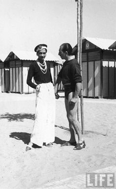 Gabrielle 'Coco' Chanel and Salvador Dali - 1940's - The Beach at Deauville - Photo by Gjon Mili (Albanian-American, 1904-1984) - @~ Watsonette