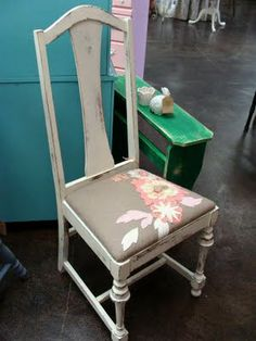 Distressed White Chair With Floral Applique Seat