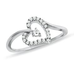 1/6 CT. T.W. Diamond Heart Ring in 10K White Gold - Zales  True love waits ring for our daughter