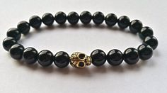 Skull Bracelet, Black onyx bracelet, Onyx Bracelet, Gemstone Bracelet, Beaded Bracelet, Stretch Bracelet, Men's Women's Bracelet by HarleysJewellery on Etsy