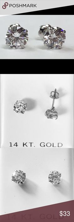 Spotted while shopping on Poshmark: 14k White Gold 6mm stud Earrings! #poshmark #fashion #shopping #style #Jewelry