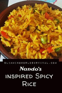 Slimming World Syn Free Spicy Rice Recipe Inspired By Nandos. astuce recette minceur girl world world recipes world snacks Savoury Rice Recipe, Spicy Rice Recipe, Savory Rice, Nando's Recipes, Spicy Recipes, Dinner Recipes, Healthy Recipes, Recipies, Slimming World Vegetarian Recipes