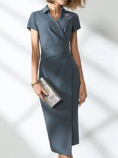 c0d0faa3b53 Stylewe Sundress 1 Bodycon Dresses Work Bodycon Shirt Collar Short Sleeve  Elegant Asymmetric Dresses