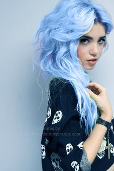 wavy light blue hair style Try it with https://www.hairchalk.co/shop/serenity-pantone-2016-pastel-blue-hair-chalk-set-6/