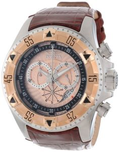 Men's Wrist Watches - Invicta Mens 12694 Excursion Sport Chronograph Rose Textured Dial Brown Leather Watch -- You can find more details by visiting the image link.