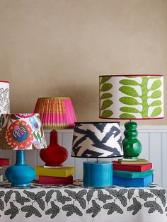 Decorative lamps are having a moment, with plain shades being swapped for pretty printed numbers like these from KD Loves. From £150, kdloves.com Decorate Lampshade, Lampshades, Velvet Color, Blue Velvet, Colorful Lamp Shades, Decorative Lamps, Home Room Design, Funky Furniture, Floor Lamps