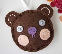 Felt Teddy Bear Ornament Blushing Cheeks