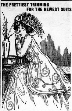 The prettiest Trimming for the newest suits. From the June 10, 1909 Tacoma Times.