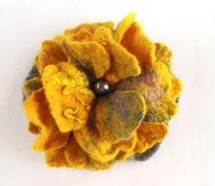 Felted flower brooch hand felted brooch grey honey by Dagneart, $19.00