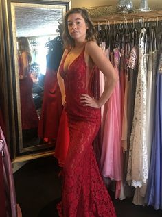 Mermaid Deep V-Neck Sweep Train Red Lace Prom Dress with Sequins - Wedding Women Store W Dresses, Prom Party Dresses, Simple Dresses, Beautiful Dresses, Nice Dresses, Fashion Dresses, Formal Dresses, Backless Mermaid Prom Dresses, Red Lace Prom Dress