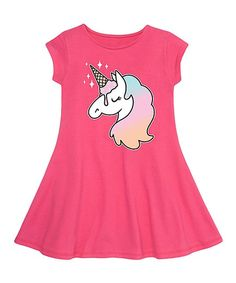 Instant Message Raspberry Ice Cream Unicorn Fit & Flare Dress - Toddler & Girls | zulily