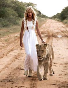 long white dress and lion?