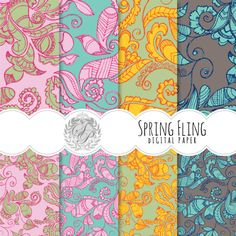 Spring Fling Digital Scrapbook Paper Set - pdf, jpg - Personal and Commercial Use on Etsy, $3.50