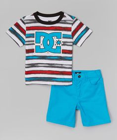 Look at this #zulilyfind! DC Red Stripe Logo Tee & Aqua Shorts - Infant, Toddler & Boys by DC #zulilyfinds
