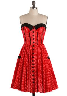 Stopping the Show Dress - Show On Featured Sale, Rockabilly, Pinup, Mid-length, Red, Black, White, Polka Dots, Buttons, Pockets, Fit & Flare, Cotton, Best Seller, Strapless, Sweetheart