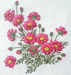 Ribbon Embroidery Pink Flowers