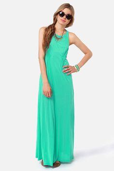 Fun Teal Dress - Maxi Dress - Racer-Back Dress - $56.00