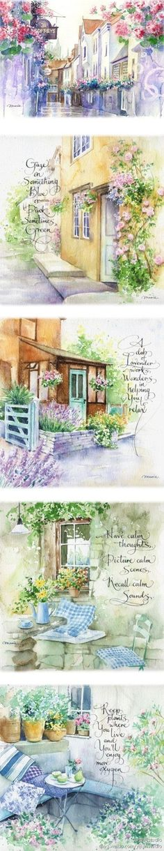 Beautiful words for each watercolor painting. Art Aquarelle, Watercolor Landscape, Watercolor Illustration, Watercolour Painting, Painting & Drawing, Watercolours, Watercolour Tutorials, Watercolor Techniques, Art Journal Inspiration