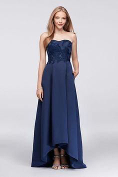 Marine Blue High-Low Bridesmaid Dress with Appliqued Bodice by Oleg Cassini available at David's Bridal