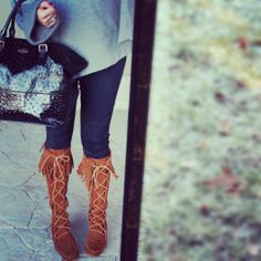 Love this look for fall, featuring the Minnetonka Women's Front Laced Hard Sole Knee HI Boot - Find it here!  http://www.minnetonkamoccasin.com/Products/Detail/front-laced-hard-sole-knee-hi-boot-womens